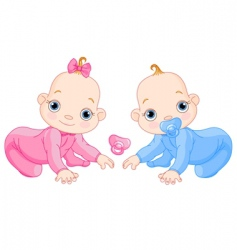 cute creeping twins vector image vector image