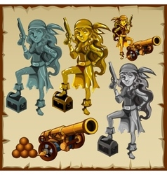 Gold and silver statues of women pirates with guns vector image