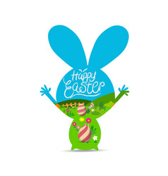 happy easter with eggs landscape vector image vector image