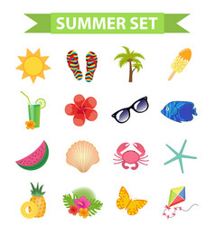 hello summer icon set flat cartoon style beach vector image vector image