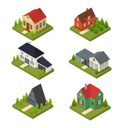 residential building set isometric view vector image