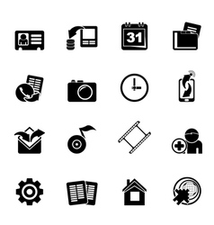 Silhouette Mobile phone menu icons vector image vector image