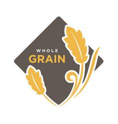 whole grain organic cereals logo wheat symbol vector image vector image