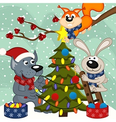 animals decorating Christmas tree vector image