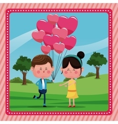 boy with branch balloons girl smiling rural vector image