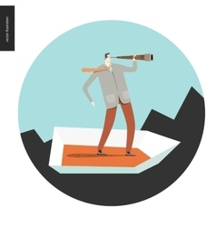 Businessman with a telescope in boat vector