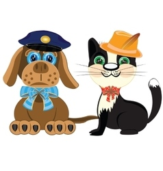 Dog police and cat in hat vector
