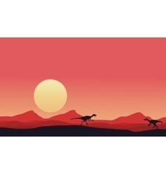 Eoraptor landscape at afternoon vector image vector image