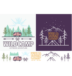 forest camp linear with tent vector image vector image