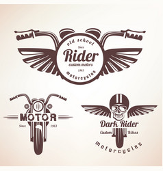 set of vintage motorcycle labels badges and vector image vector image
