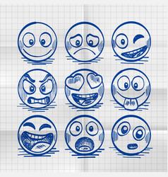 sketch of hand drawn set of cartoon emoji vector image