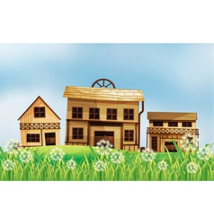 A set of wooden houses vector