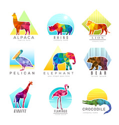 Animals logo zoo low poly triangular geometric vector
