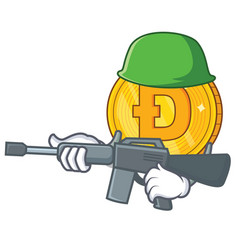 army dodgecoin character cartoon style vector image
