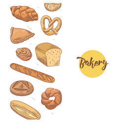 Bakery hand drawn background with fresh bread vector