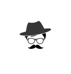 Bowler hat with glasses and mustache for logo vector