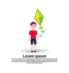 Boy hold hand kite full length avatar on white vector