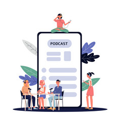 Broadcast and podcast with people on chat backdrop vector