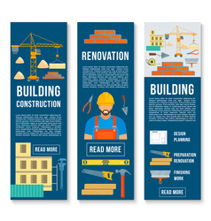 Building construction work tools banners vector