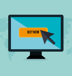 Buy on line with monitor computer vector