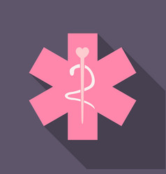 Caduceus - medical sign in modern flat style vector