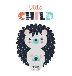 card with cute hedgehog isolated on white vector image