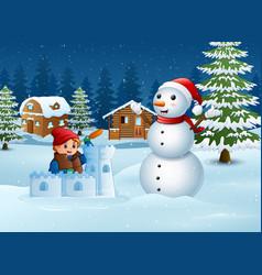 Cartoon boy in winter clothes building a snow fort vector