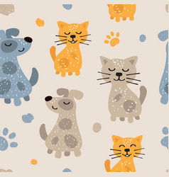 Childish seamless pattern with cute dogs and cats vector