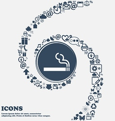 Cigarette smoke icon sign in the center Around the vector
