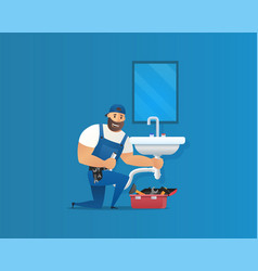 concept plumber service vector image