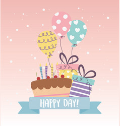 Cute cake party gifts balloons decoration vector