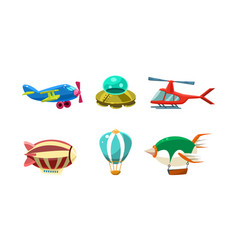 cute cartoon aircrafts bright colors set airplane vector image