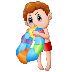 Cute little boy blowing an inflatable ring vector
