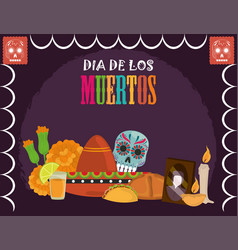 day dead sugar skull hat tequila flowers vector image