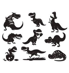 Dinosaurs dino silhouette animal vector