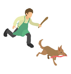 dog thief icon isometric 3d style vector image