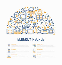 Elderly people concept in half circle vector