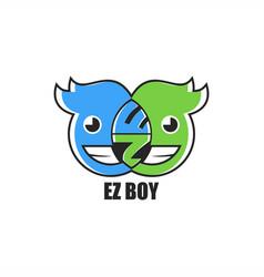 Ez emoticon boy logo design vector