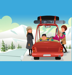 Family going to a winter holiday trip vector