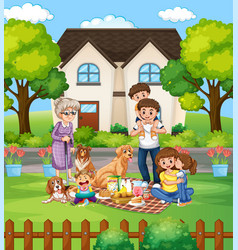 family picnic in fron yard vector image