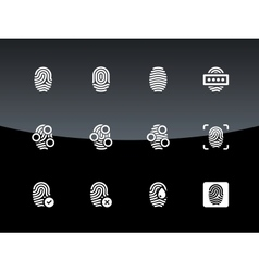 Fingerprint icons on black background vector image