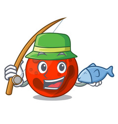 Fishing mars planet mascot cartoon vector