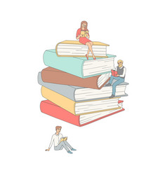 flat adult people reading book at pile vector image