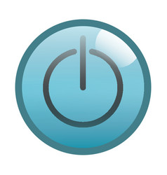 Flat black power button icon vector