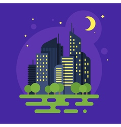 flat style of night city Moon and buildings vector image