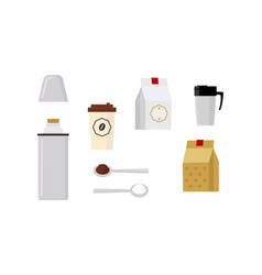 Flat vecrtor set of icons related to coffee theme vector
