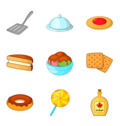 Fritter icons set cartoon style vector
