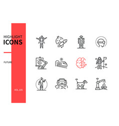future - modern line design style icons set vector image