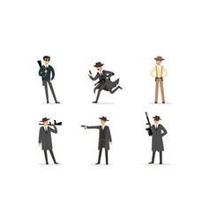 gangsters set american mafia criminal characters vector image