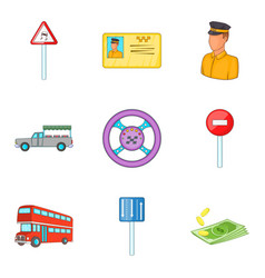 Get out of car icons set cartoon style vector